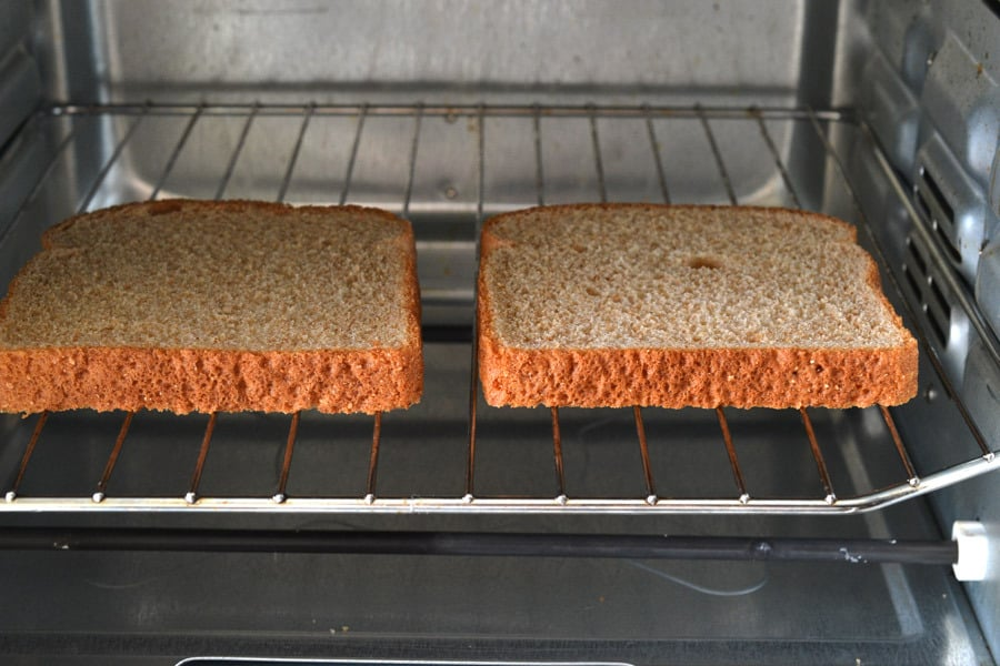 bread slices in toaster oven
