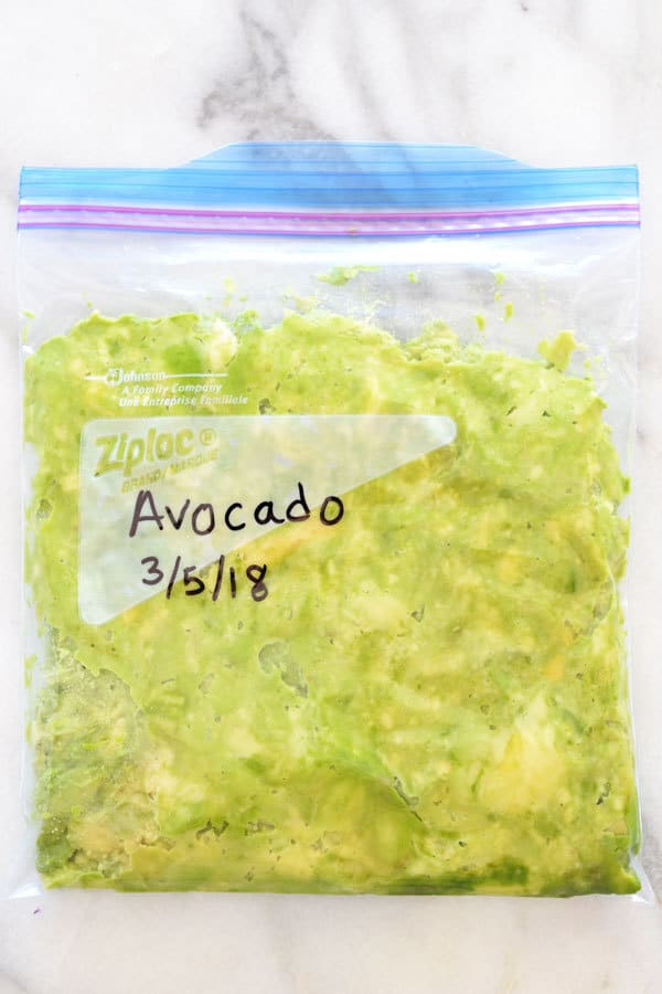 mashed avocado in a zip top bag