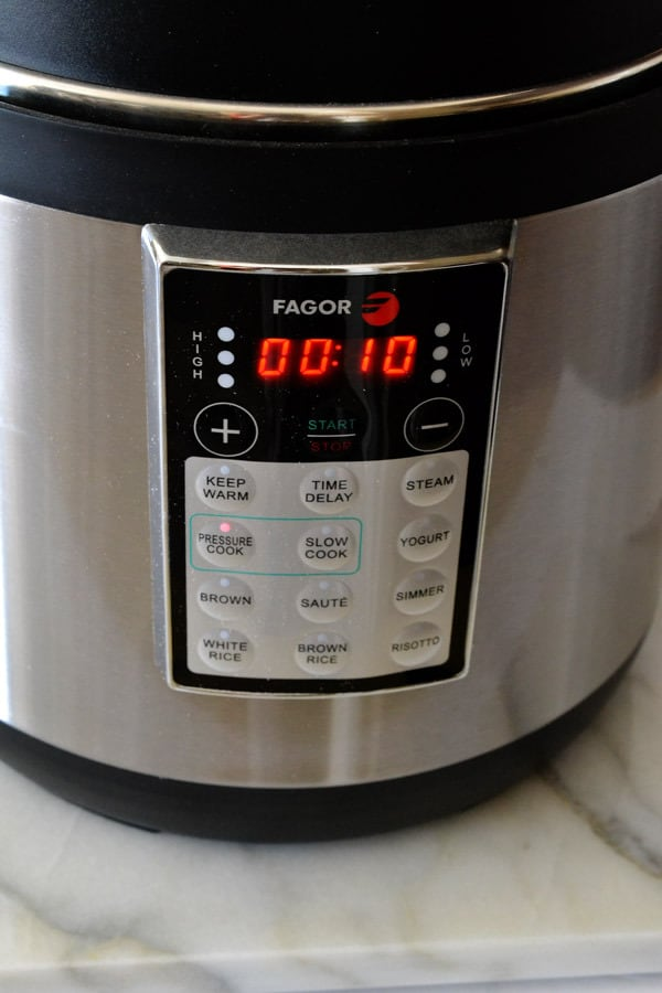 fagor pressure cooker front selection panel