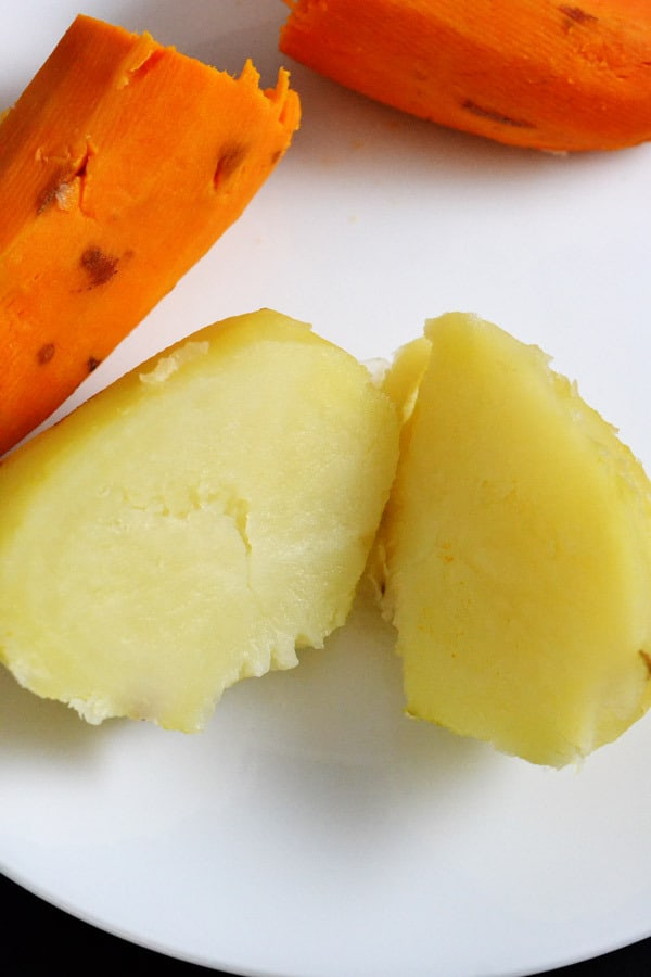 potato and sweet potato cut in half after being steamed in the Fagor Lux Multi-Cooker on the Steam setting.