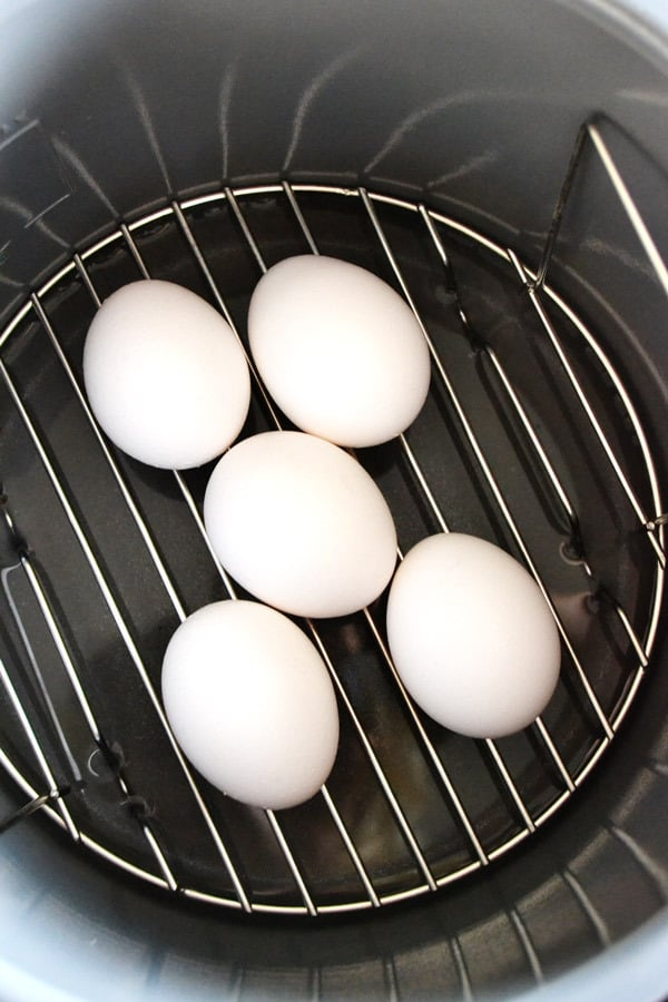 hard boiled eggs cooked in the Fagor Lux Multi-Cooker on low pressure setting