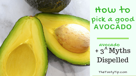 how to pick a good avocado title with cut avocado pictured