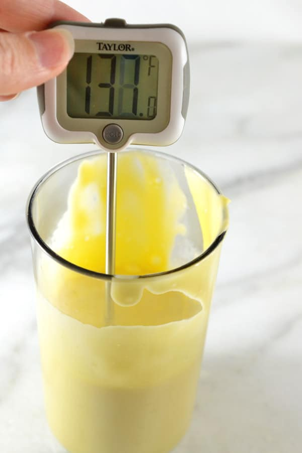 thermometer in hollandaise sauce
