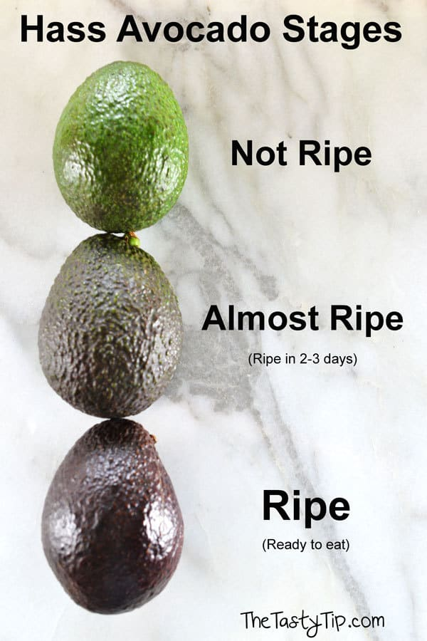 3 avocados in different ripeness stages
