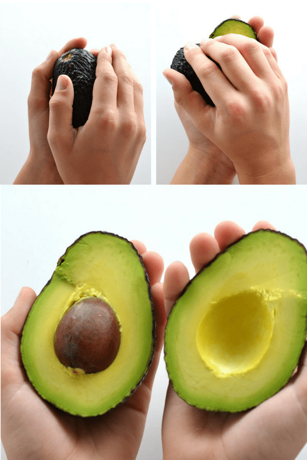 twisting avocado to open