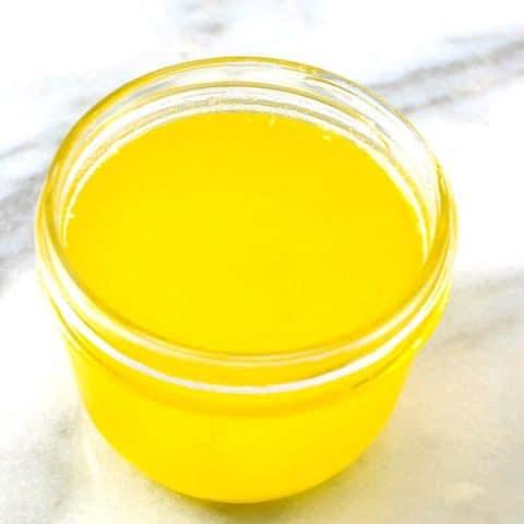 clarified butter in a jar