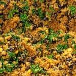 Southwest chipolte kale quinoa bowl in skillet