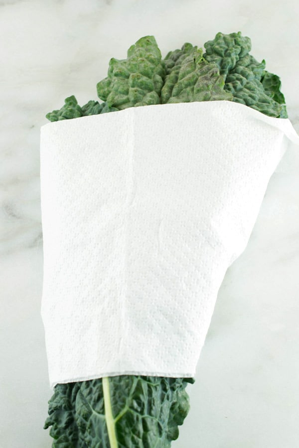 kale wrapped in a paper towel