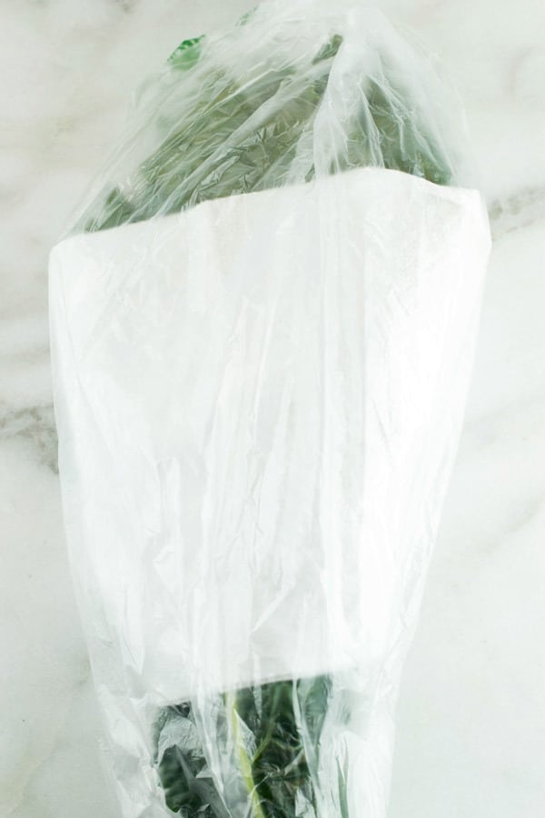 kale wrapped in a paper towel and plastic bag ready to go in the refrigerator