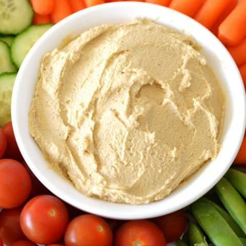 hummus with veggie tray