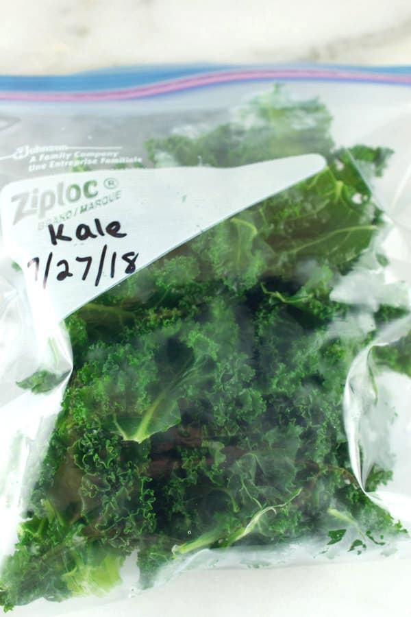 frozen kale in zip top bag