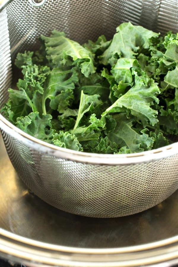 steamer basket with kale