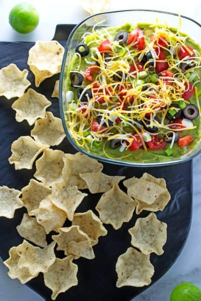bowl of 7 layer dip