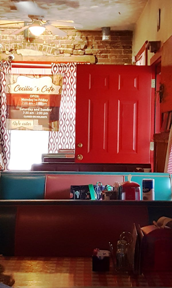 red door at Cecilia's Cafe