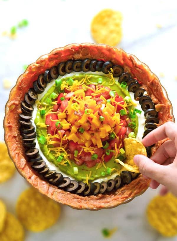 bowl of 7 layer dip