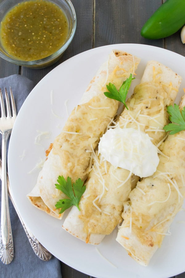 plate of sour cream enchiladas
