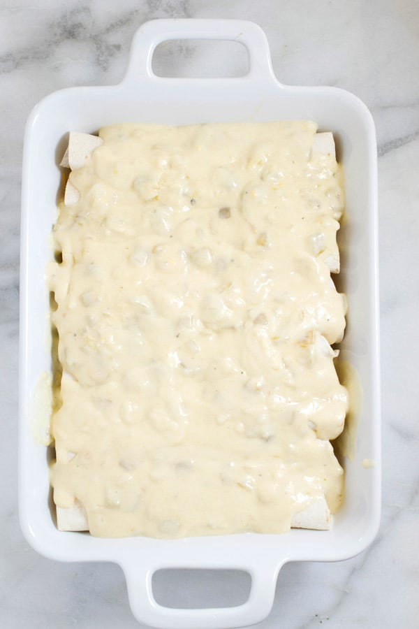 pan of sour cream enchiladas