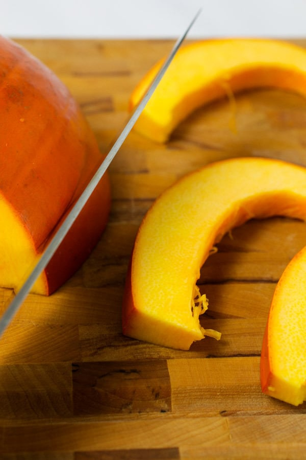 sliced pumpkin ready to cook