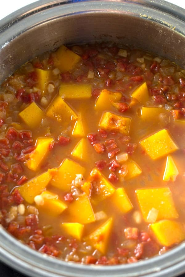 butternut squash soup cooking in pan