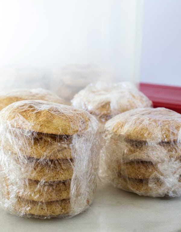 snickerdoodle cookies wrapped in plastic wrap