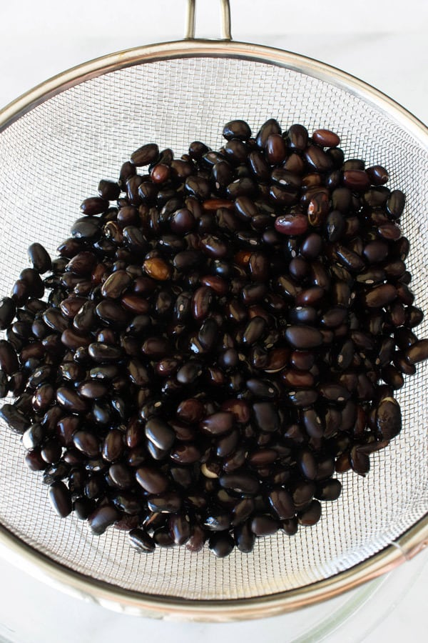 draining black beans