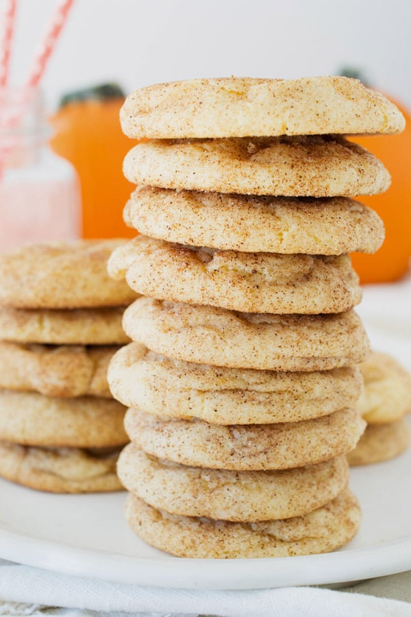 stack of pumpkin snickerdoodles on a plate