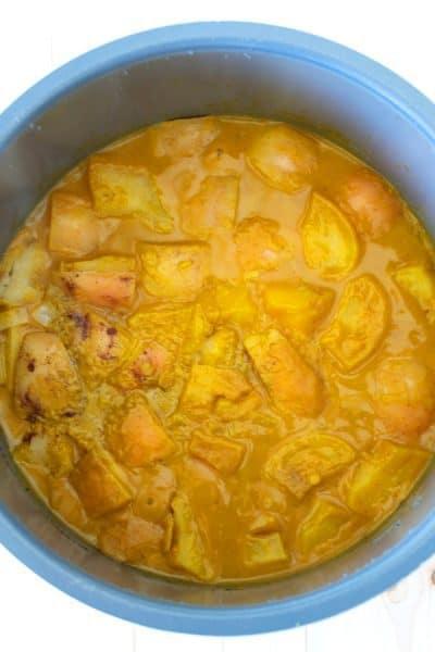 pumpkin soup cooking in pressure cooker