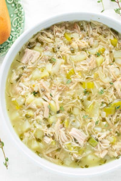 bowl of turkey soup