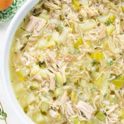 Favorite Turkey Soup in 30 Minutes with Leftover Turkey and Fresh Seasonal Herbs