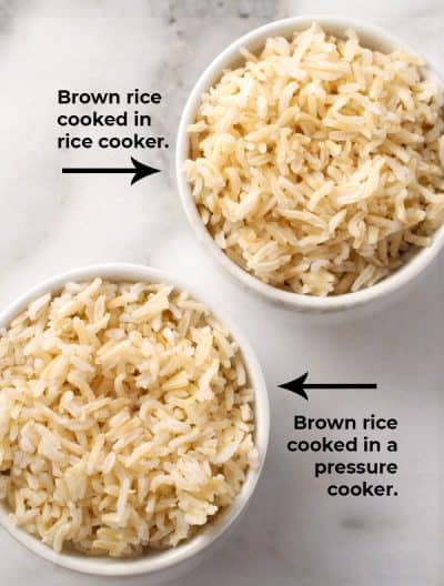 bowl of brown rice cooked in rice cooker next to bowl of brown rice cooked in a pressure cooker