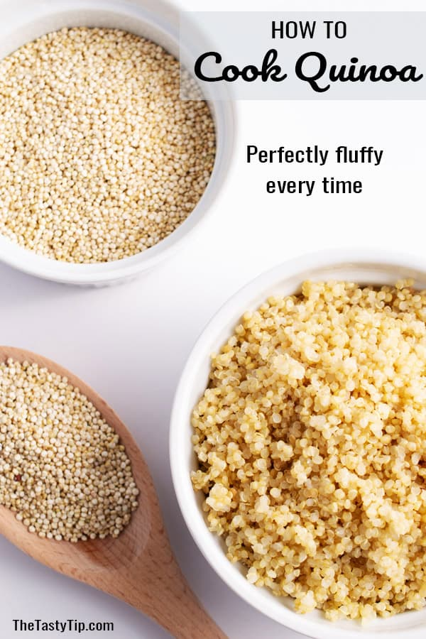 bowl of raw quinoa and bowl of cooked quinoa with wooden spoon