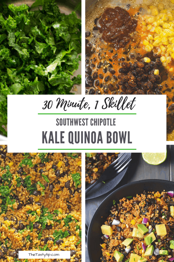 pictures of process of making kale quinoa power bowl
