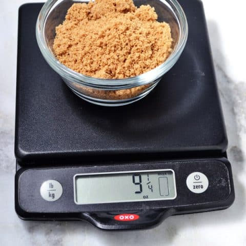brown sugar on kitchen scale