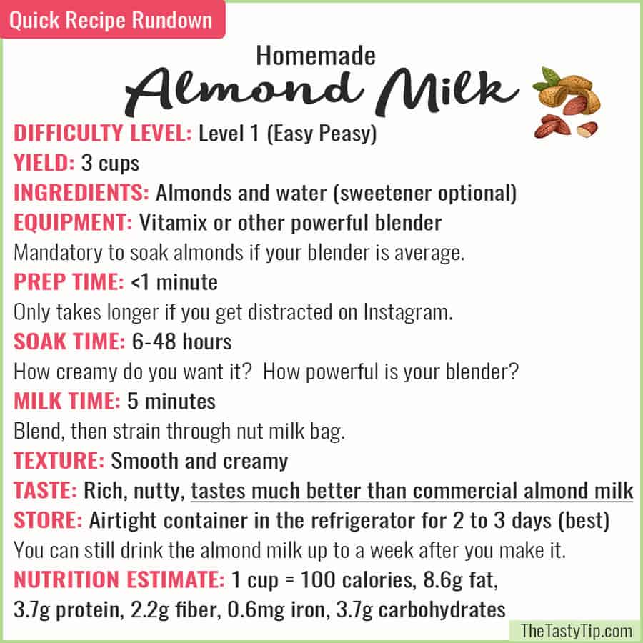 rundown of almond milk recipe
