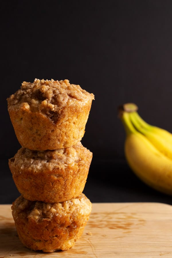 stack of banana muffins