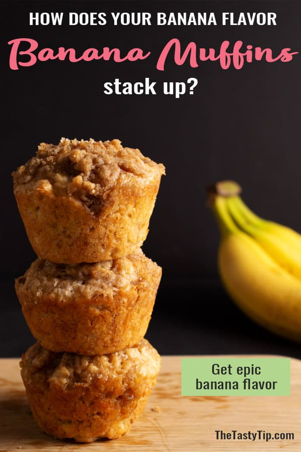 stack of banana muffins with bananas in background