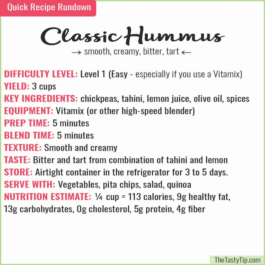 hummus recipe rundown