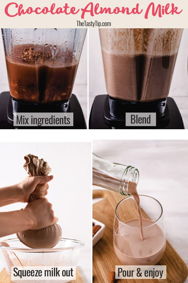 steps to make chocolate almond milk