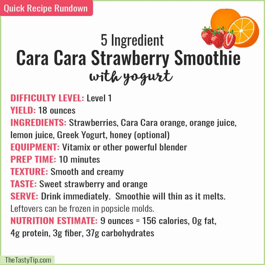recipe rundown of cara cara strawberry smoothie