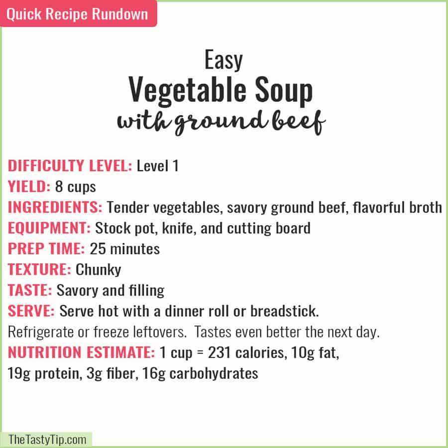 recipe rundown for vegetable soup with ground beef