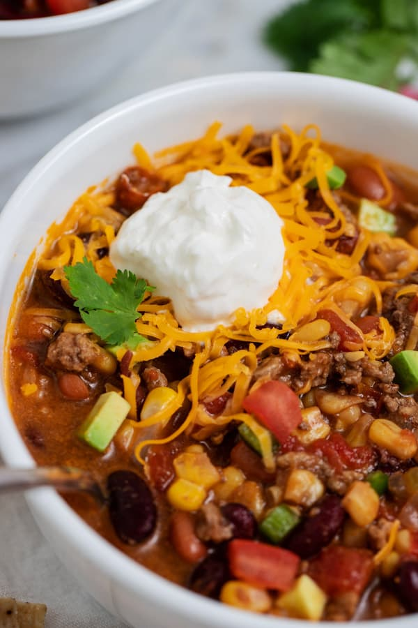 bowl of taco soup with ground beef