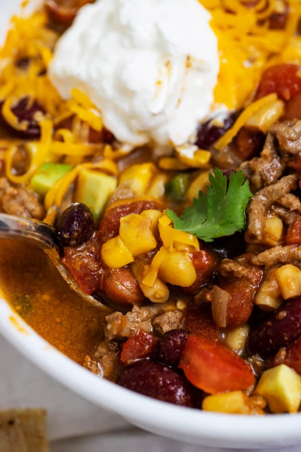 spoon of taco soup