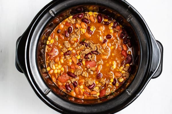 cooked taco soup in slow cooker