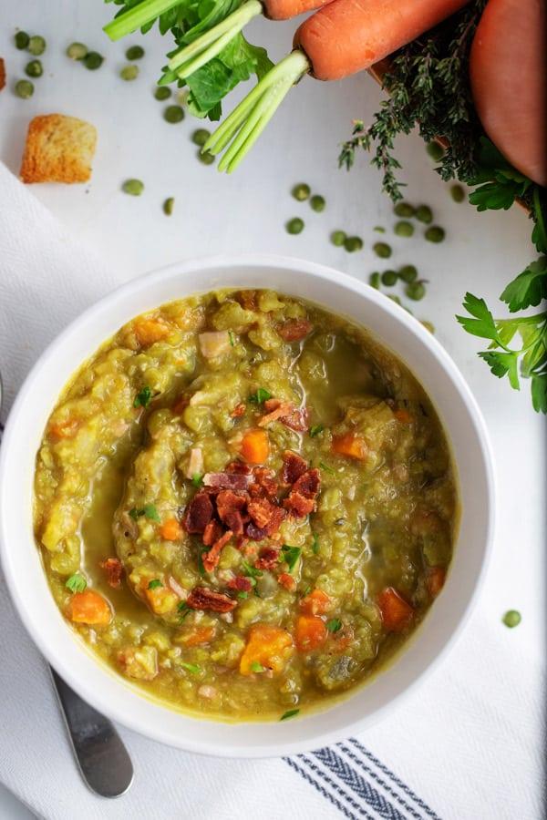 bowl of crock pot split pea soup with ham