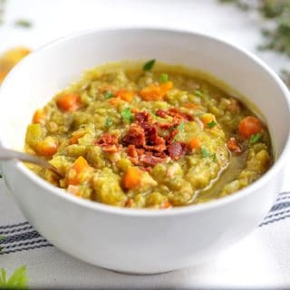 bowl of split pea soup with ham