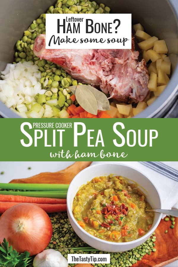 raw ingredients in a pressure cooker and bowl of split pea soup