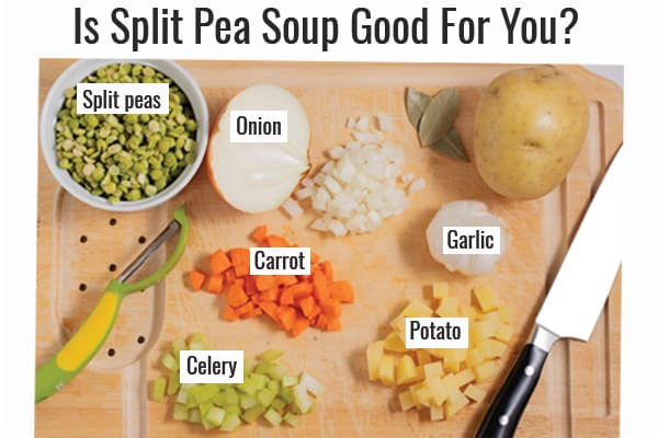 ingredients for split pea soup on a cutting board