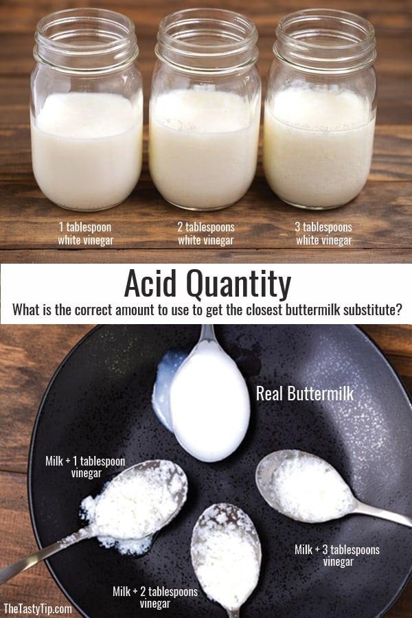 jars of milk with different quantitites of vinegar added