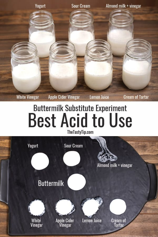jars of milk with different acids added