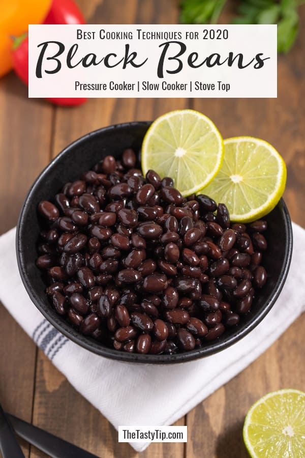 bowl of black beans with lime slices